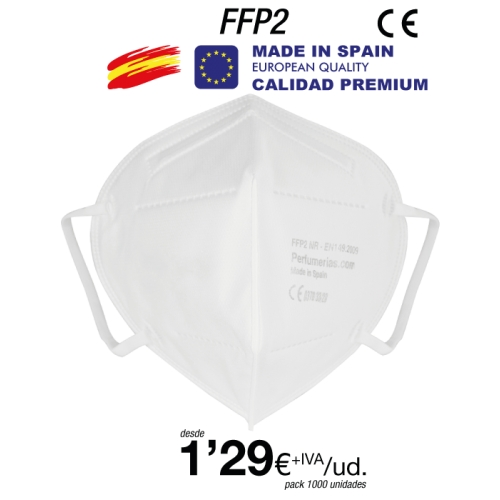Mascarillas FFP2 Made in Spain Calidad Premium con certificado 0370-4121-PPE/B